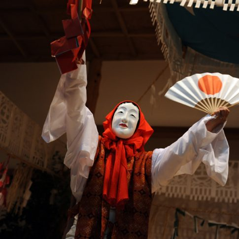 Traditional Jaanese dance called Kagura in Takachiho.