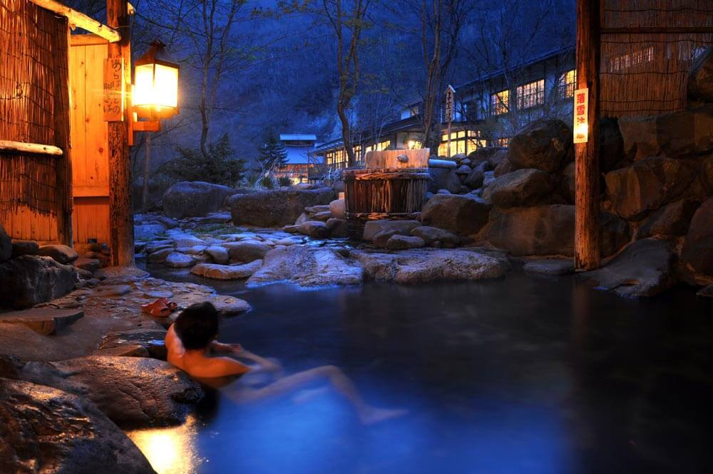 Outdoor bath (rotenburo) at Aoni Onsen, photo tour to Japan