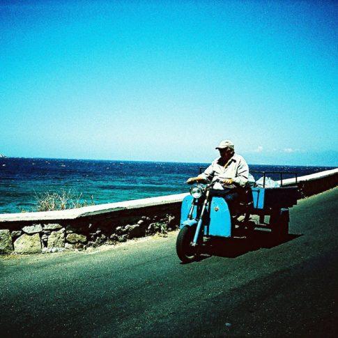 Old motorcycle in Mykonos, Greece