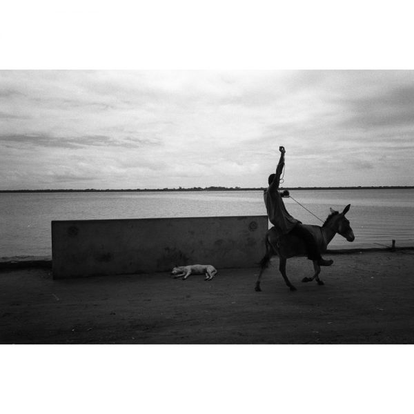 A boy rides his monkey in Lamu