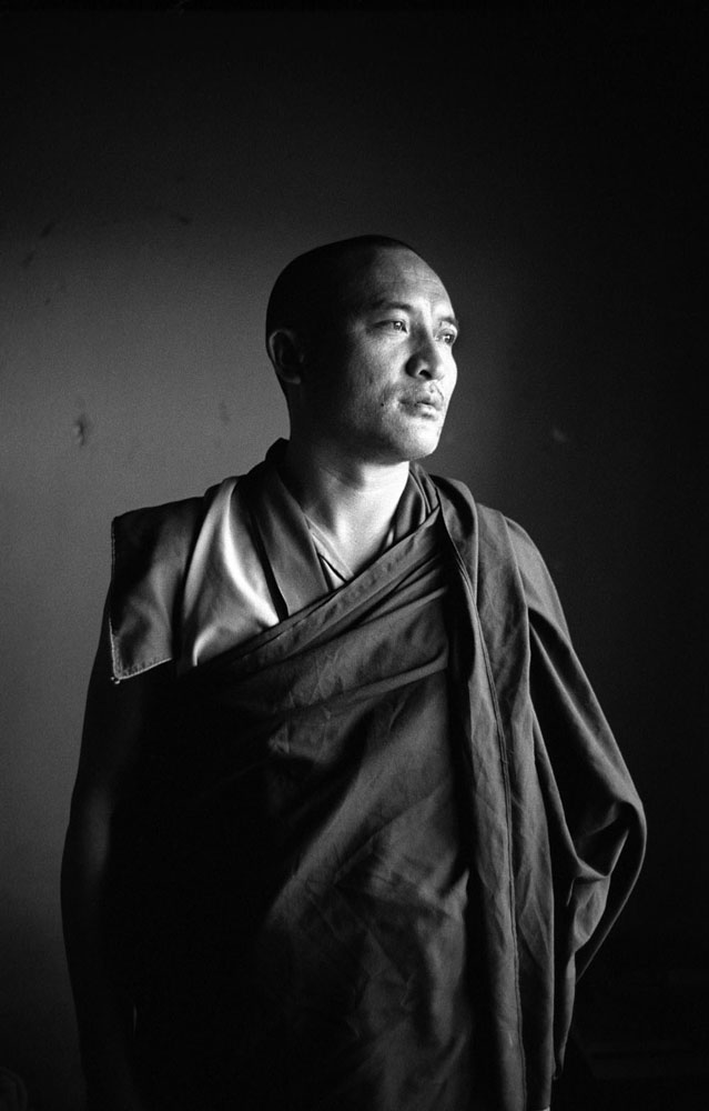 Portrait of an exiled Tibetan monk in Bir, India.