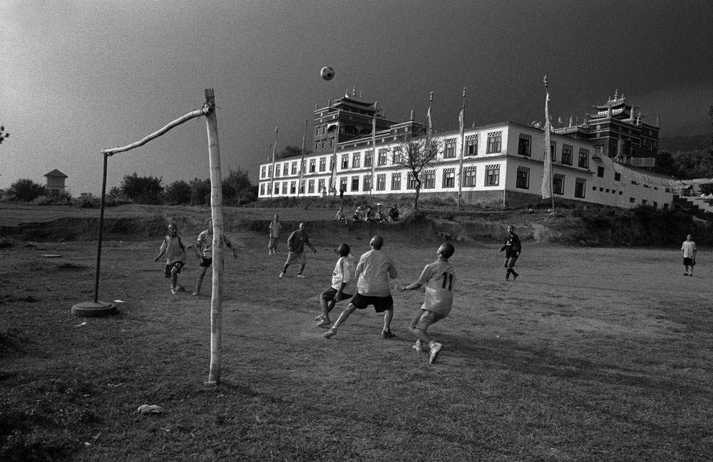Exiled Tibetan Monks play football in India
