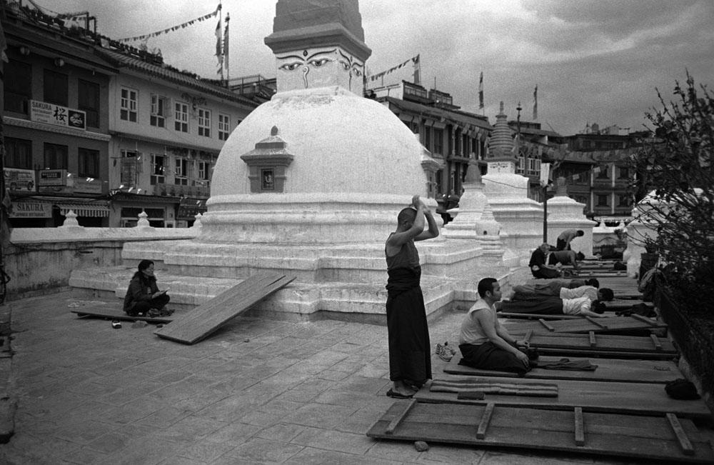 Tibetan pilgrims pray around the Boudhanath Stupa in Kathmandu, Nepal.