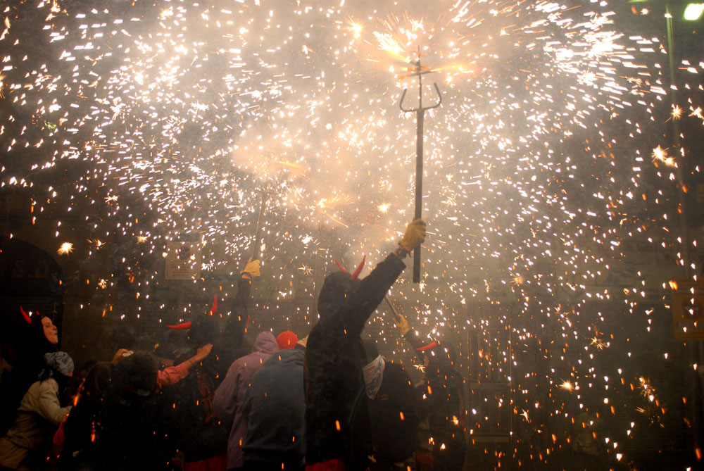 Correfoc, Catalan traditional festival with fire, is performed during La Mercè in Barcelona, Spain.