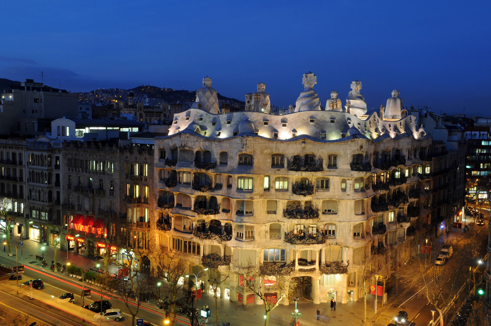 La Pedrera or Casa Milà at night, in Barcelona, Spain.