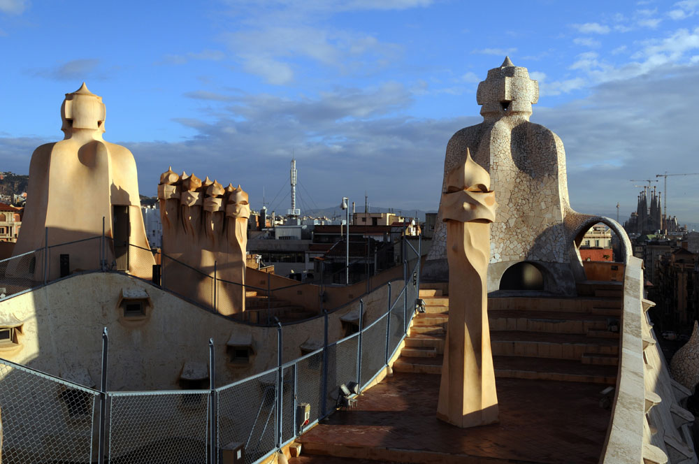 Rooftop of La Pedrera or Casa Milà, Barcelona, Spain.