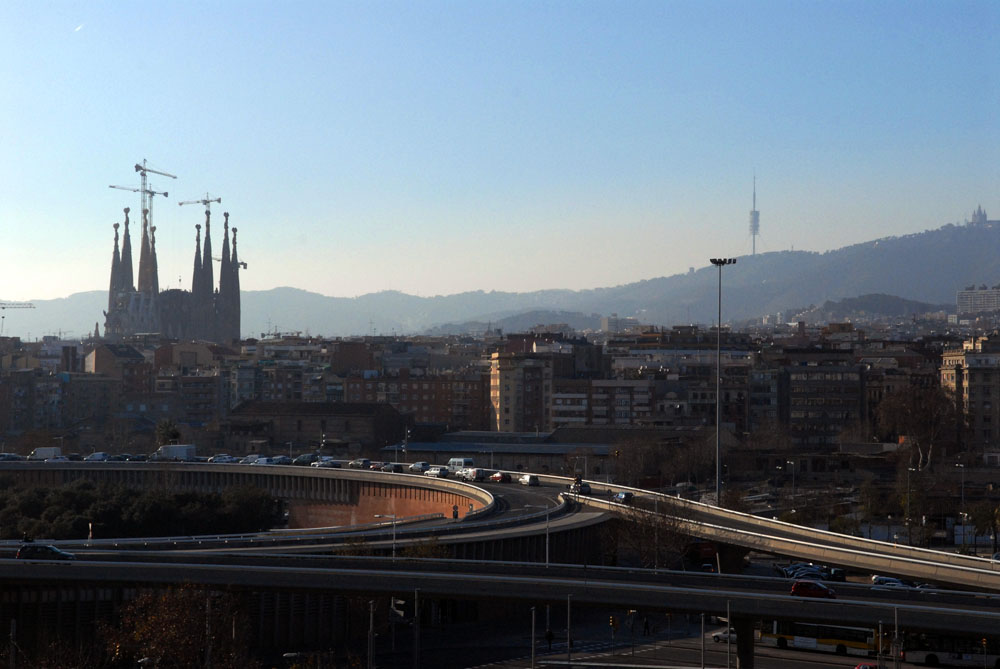 View of Sagrada Familia and Tibidabo. Barcelona, Spain.
