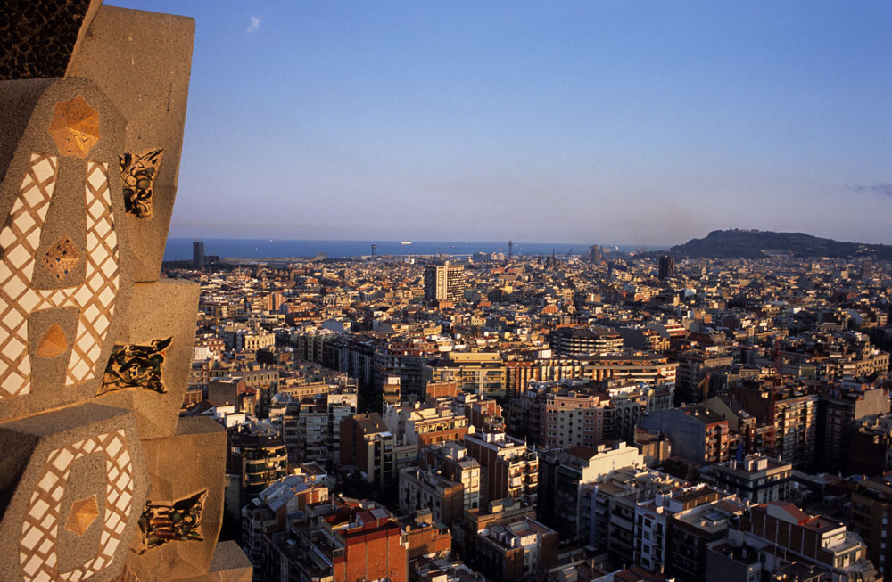 Sagrada Familia is Gaudí most representative work. Here a view of Barcelona from one tower.
