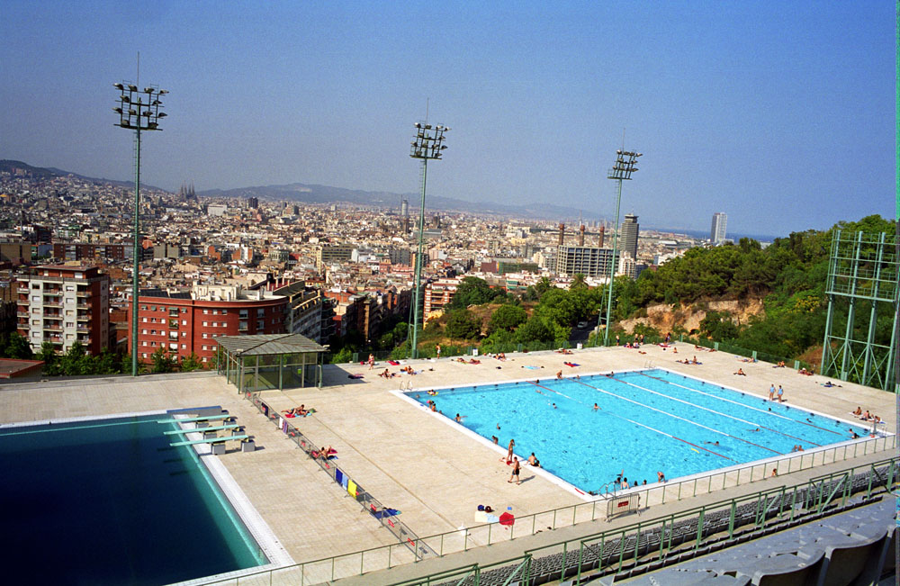 A swimming pool with the overview of Barcelona in Montjuic, Barcelona, Spain.