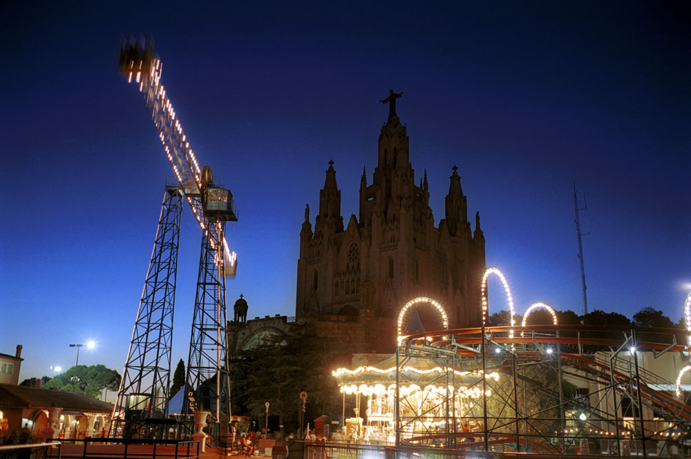 Amusement park of Tibidabo at dusk in Barcelona, Spain.
