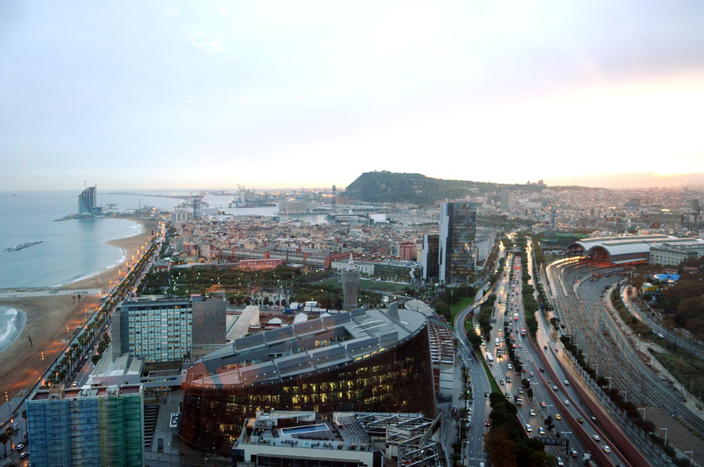 View of Barceloneta beach from a hotel in Barcelona, Spain.